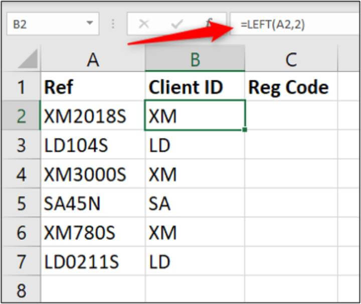 Excel LEFT formula
