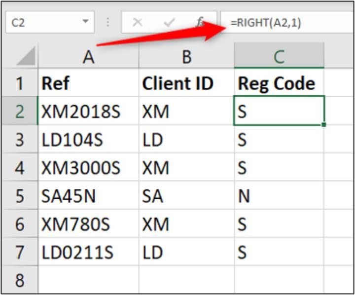 Excel RIGHT formula