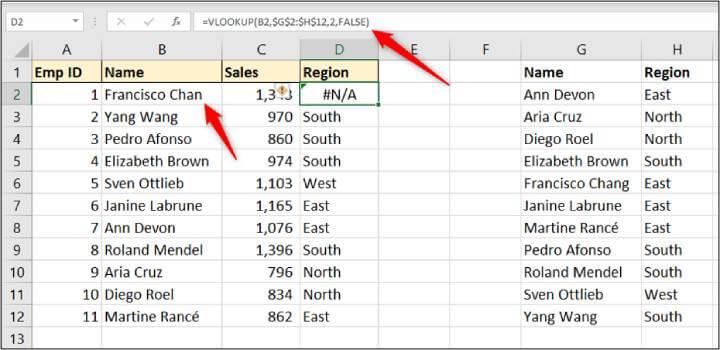 Excel vlookup-error