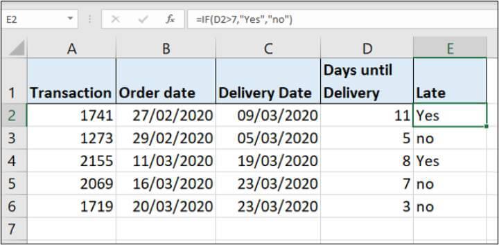 Excel IF formula