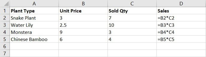 Relative reference Excel - plant example