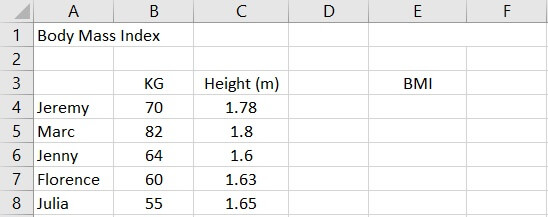 Relative reference Excel