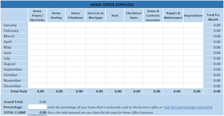 Home office expense tracking template